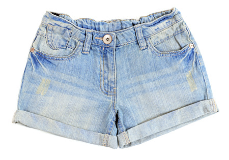 Blue jeans shorts isolated on white background