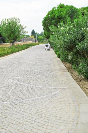Asphalt path in Turkish park