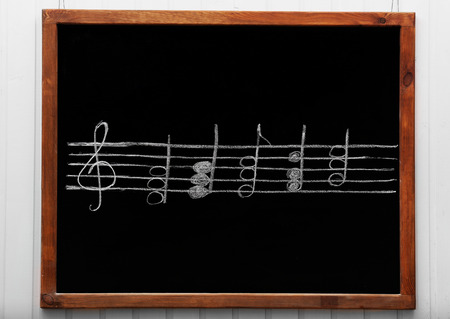 Blackboard with musical notes, close-up