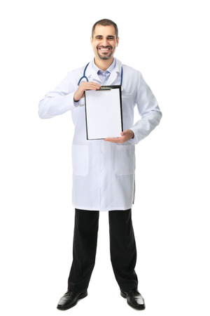 Portrait of a doctor with prescription board in hands isolated on white background Archivio Fotografico