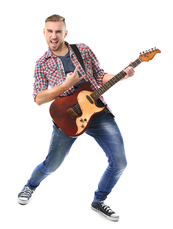 Young musician with guitar isolated on white Stock fotó