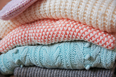 Knitted clothes closeup Stock Photo