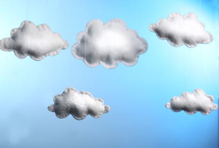 Fleece clouds on blue background Stok Fotoğraf