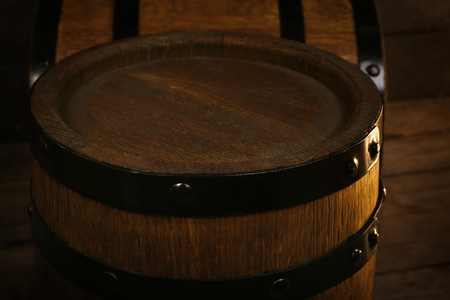 Two old wooden wine barrels, closeup 스톡 콘텐츠