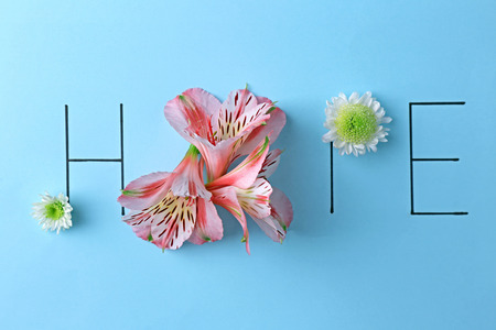 Inscription hope with pink and white flowers on blue background Stock Photo
