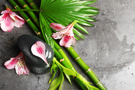 Beautiful spa composition with roses, bamboo and stones Stock Photo