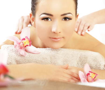 Spa concept. One do relaxing massage to pretty woman, close up Stockfoto