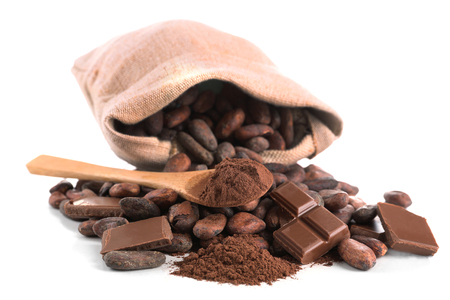 Pile of cocoa beans and chocolate isolated on white background