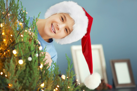 Cheerful boy with Christmas tree in decorated room, close up