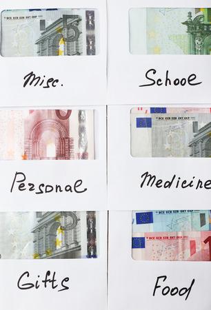 Distribution of money, financial planning, euro in envelopes, closeup Stock fotó