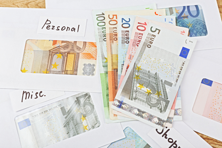 Distribution of money, financial planning, euro in envelopes, closeup Stock fotó - 104645418