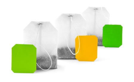 Unused teabags isolated on white background Stock Photo