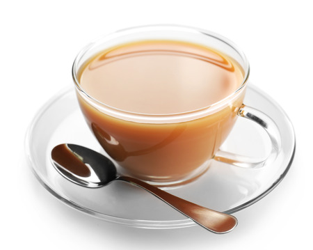 Glass cup of tea with milk isolated on white background Stok Fotoğraf