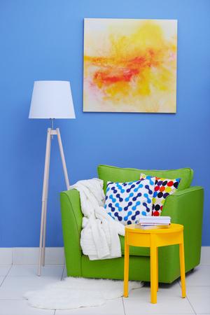 Cozy interior with armchair indoors