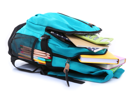 Backpack with school supplies, isolated on white Stok Fotoğraf