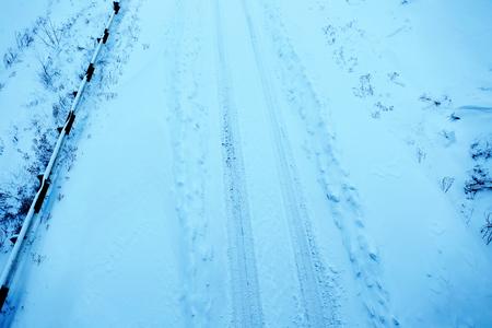 Snowy winter road, outdoor