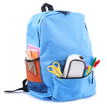 Backpack with school supplies, isolated on white Stock Photo