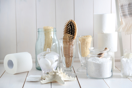 Bath accessories on wooden wall background Archivio Fotografico