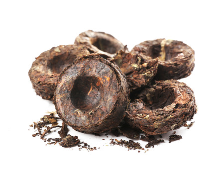 Puer tea, isolated on white 版權商用圖片