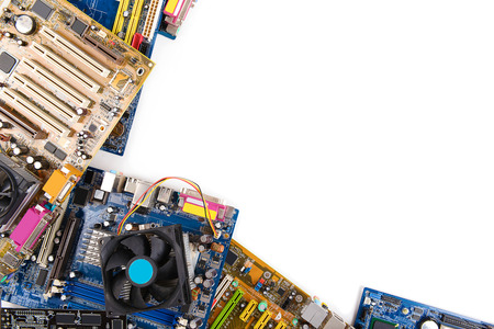 Computer motherboards with fan, isolated on white 免版税图像