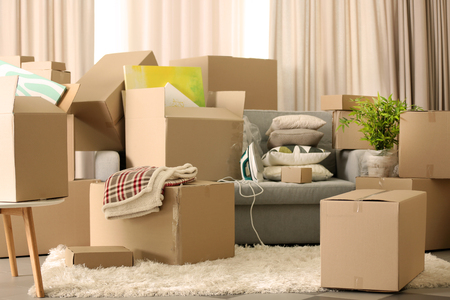 Packed household goods for moving into new house Stock Photo