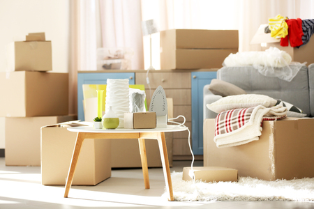 Packed household goods for moving into new house Zdjęcie Seryjne