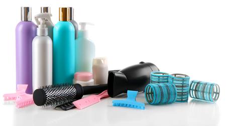 Professional hairdresser equipment isolated on white Imagens