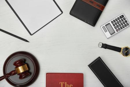 Law accessories, top view. Flat lay concept Banco de Imagens