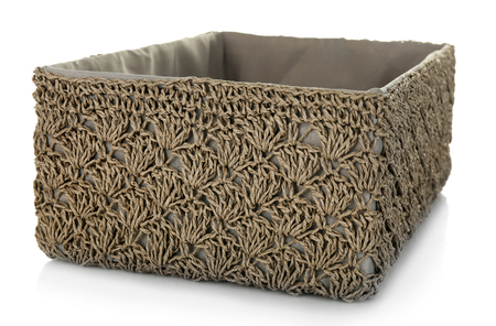 Wicker basket for home things isolated on white 版權商用圖片