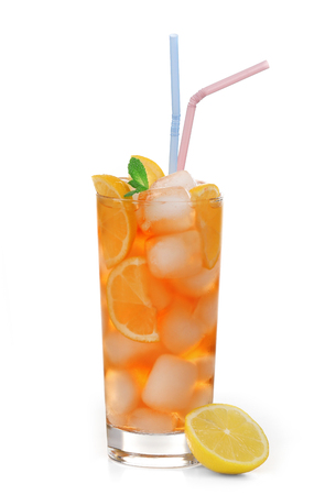 Glass of iced tea with lemon isolated on white