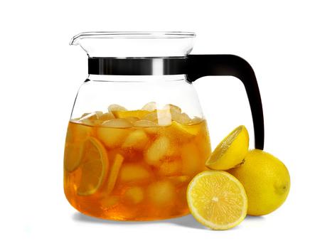 Jar of iced tea with lemon isolated on white