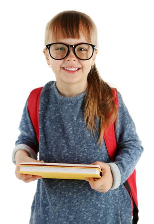 Schoolgirl with backpack isolated on white Banco de Imagens