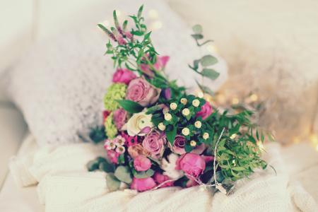 Bouquet of roses on a woolen blanket, closeup Stock fotó