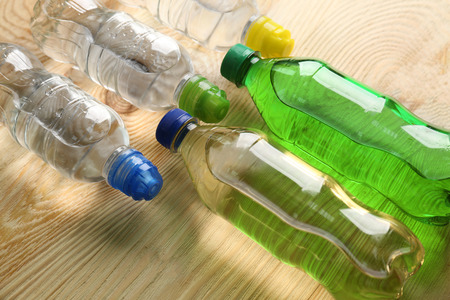 Bottles of water on the wooden table