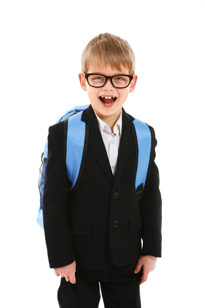 Schoolboy with backpack isolated on white Stock Photo