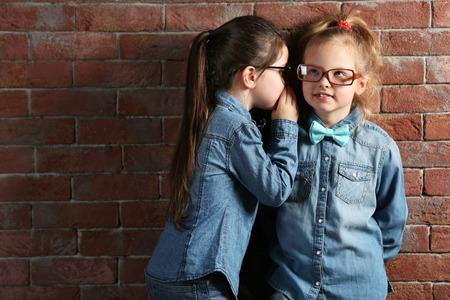 Two stylish little girls on wall background