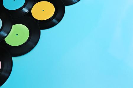 Vinyl records on blue background