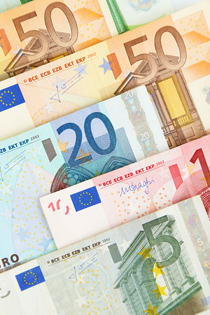 Set of different euro banknotes