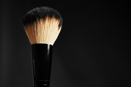 Professional makeup brush on black background Фото со стока