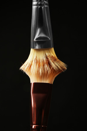 Professional makeup brushes on black background Imagens