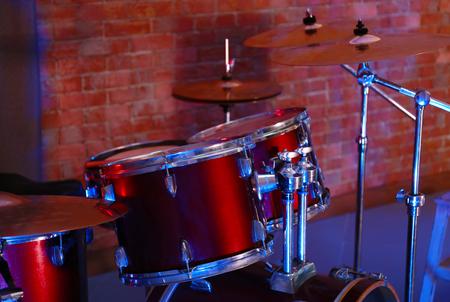 Drum set on stage Stock Photo