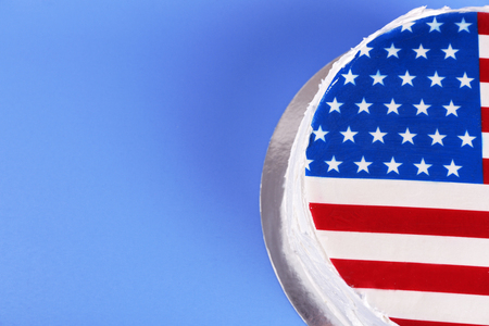 American flag cake, on blue background