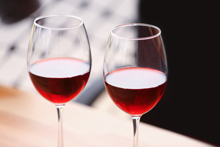 Two glasses of wine on the table