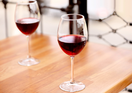 Two glasses of wine on the table Stock Photo
