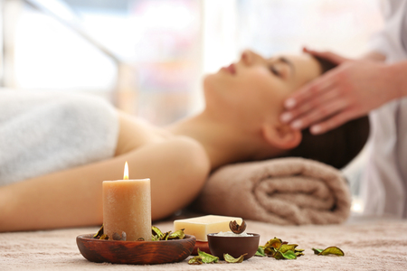 Spa set with aroma candle and soap Stok Fotoğraf