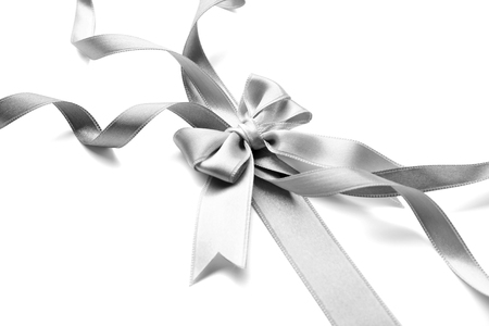 Grey ribbon bow  on a white background Stock Photo