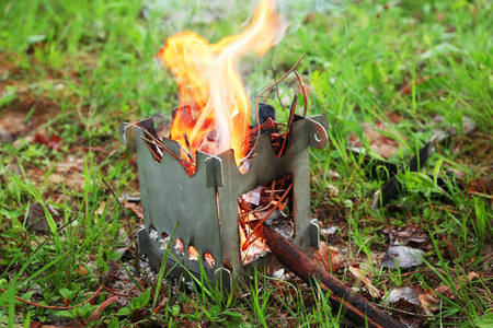 Fire for cooking dinner in forest