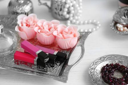 Cosmetic set on old silver tray 版權商用圖片