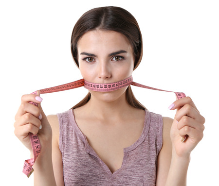 Woman with locked mouth for diet isolated on white Banque d'images - 106939786