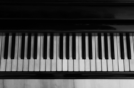 Black and white piano keys, close up